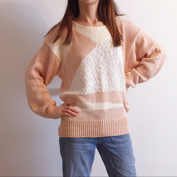 Vintage Sweaters - Vintage petal pink knit sweater